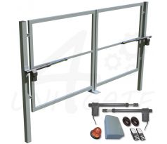 Swing double-leaf gate with columns and motors 4000x1750 mm